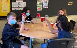 Students drinking mint tea