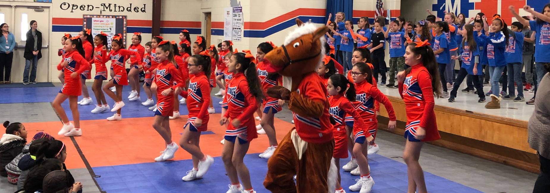 School Board Appreciation Month Assembly with Cheerleaders and Music Performance