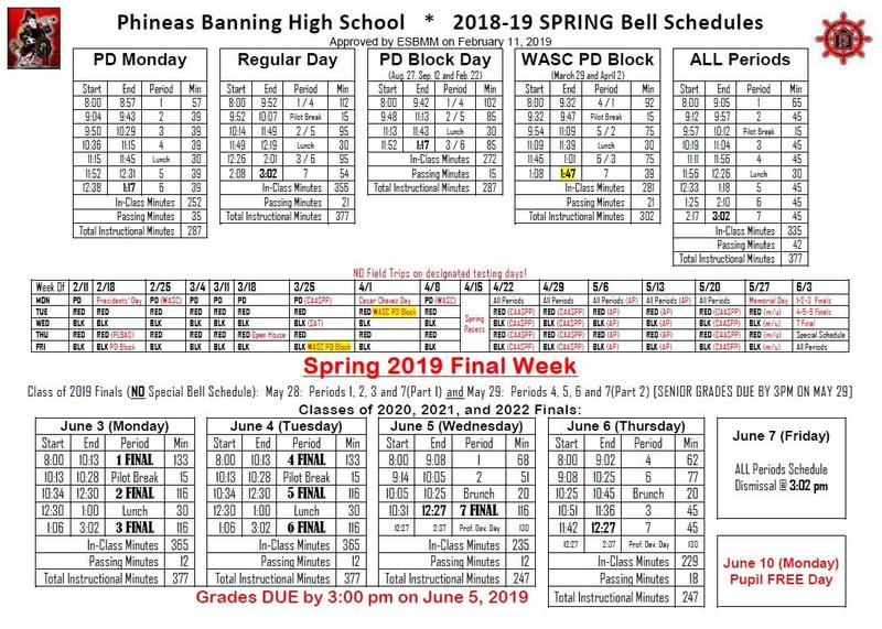 2018-2019 BHS Bell Schedules Featured Photo