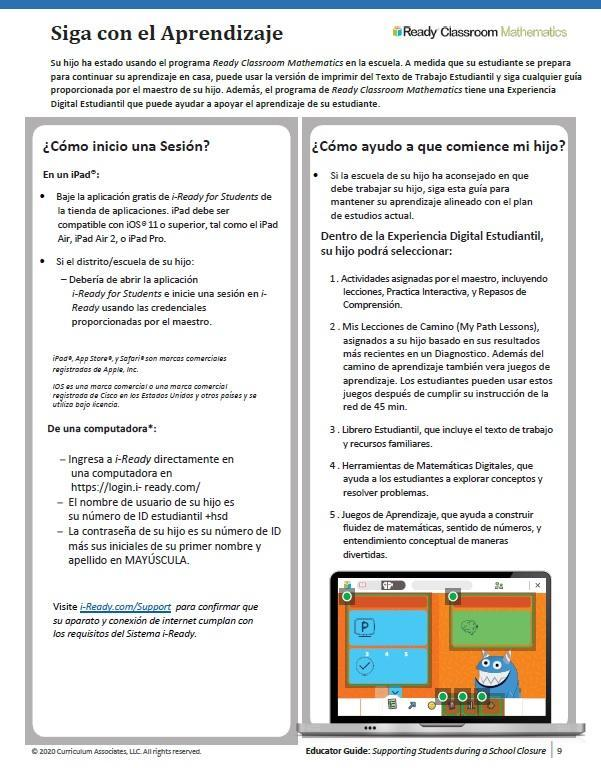 iReady Guide 1 Spanish