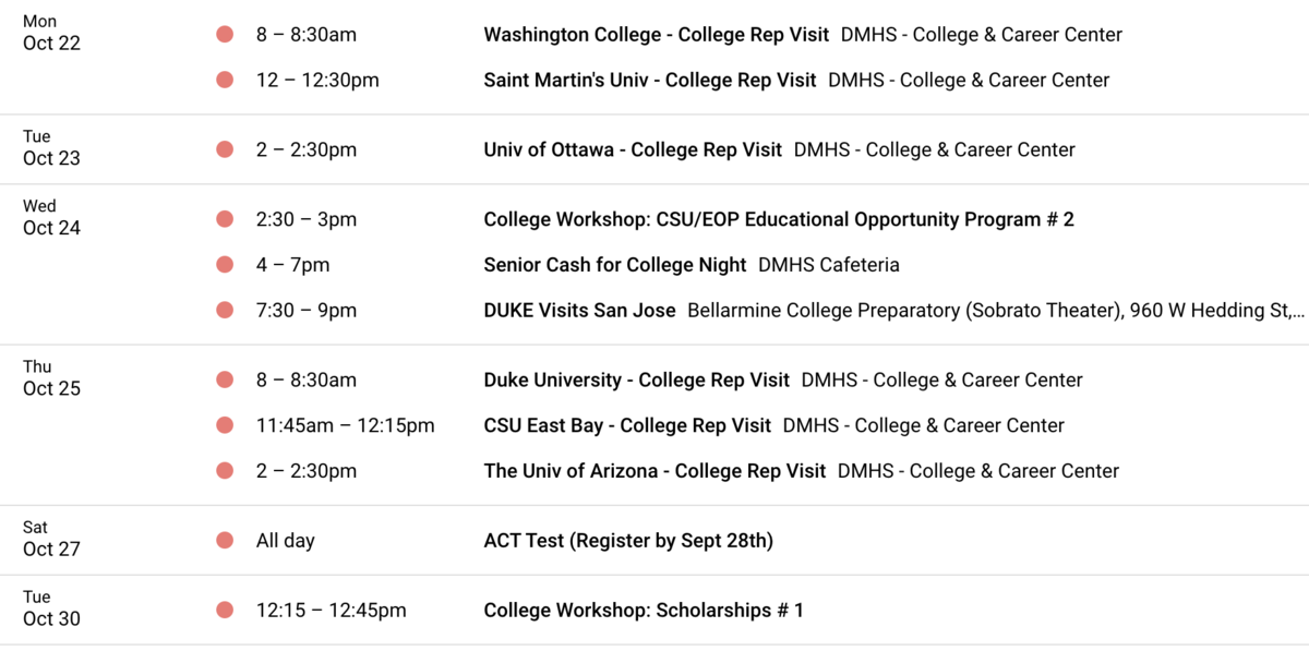 Image of October 2018 College and Career Events