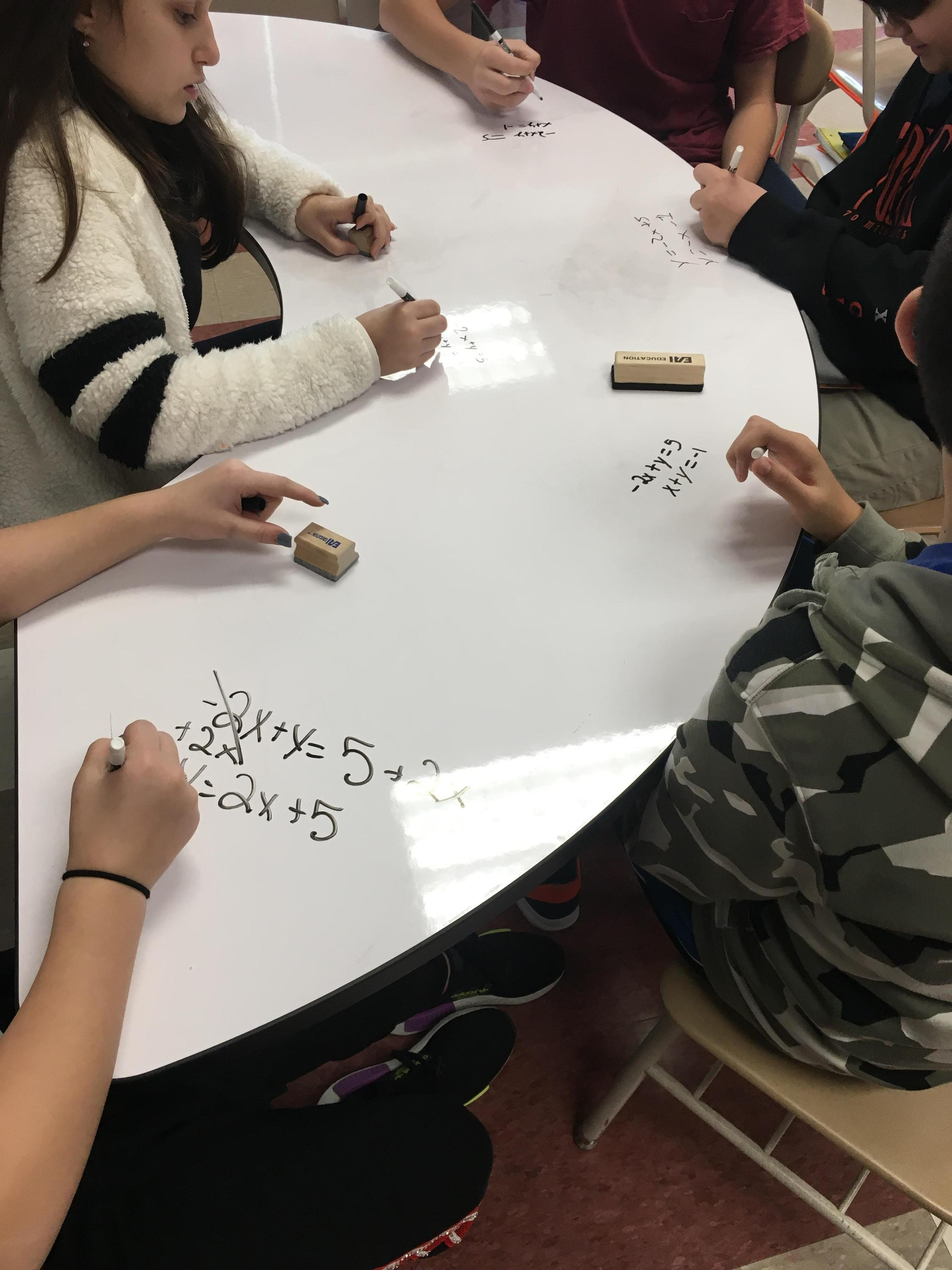 Students working on dry erase table