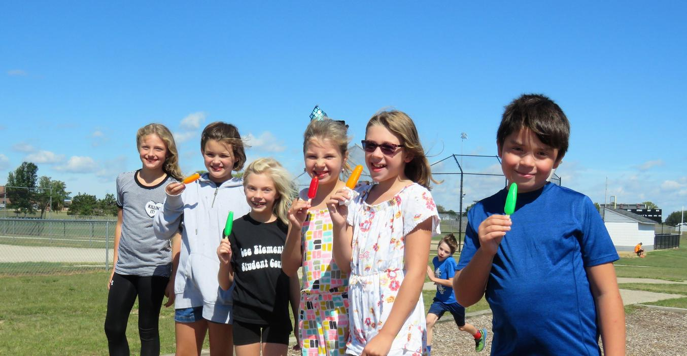 Page Elementary students enjoy Popsicle treats after completing positive behavior lessons.
