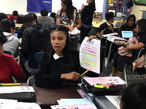 Simons Middle School - Students deploy #AVID strategies with confidence to present their work! This strategy teaches students to highlight ONLY the key words, phrases, vocabulary, and ideas that are central to understanding the reading. #proud2bePUSD #simons #avidmodelschool
