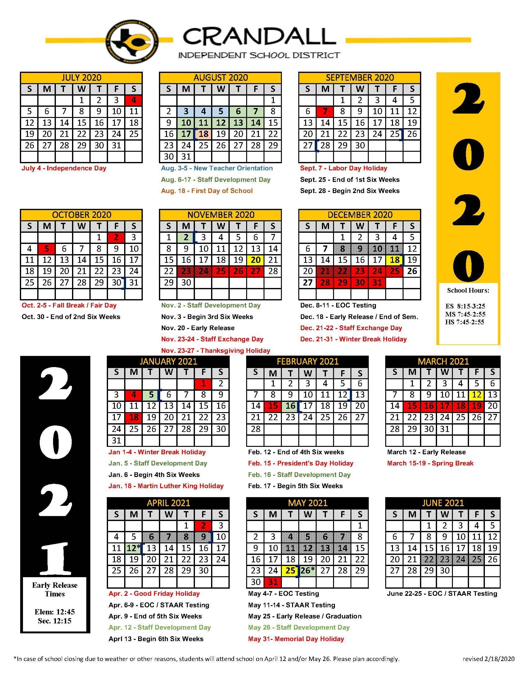 Uisd Calendar 2021 - January 2021