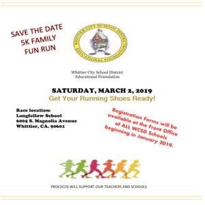 WCSDEF 5K Family Fun Run Flyer