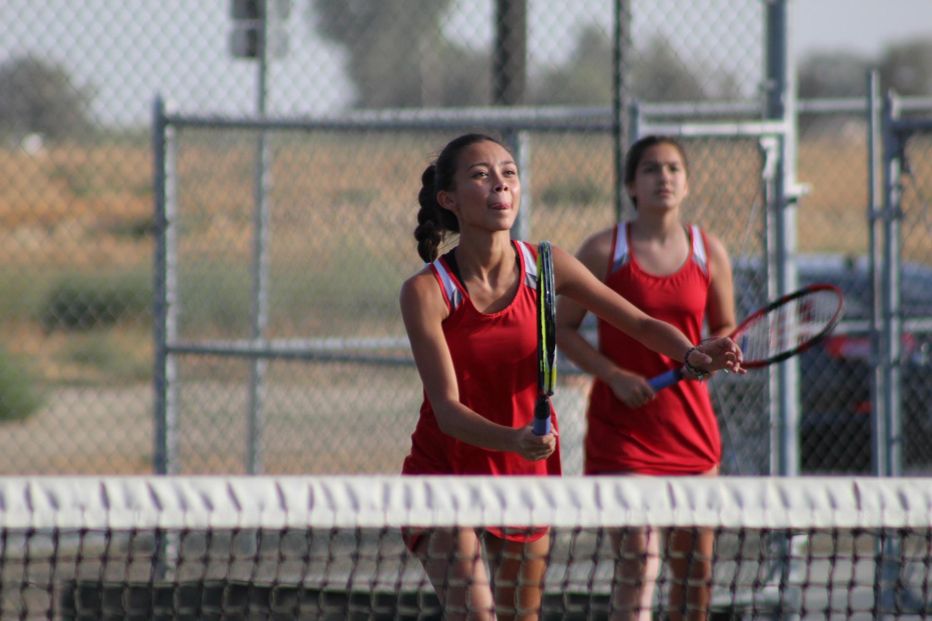 Girls and parents at Tennis Senior Night vs Kerman