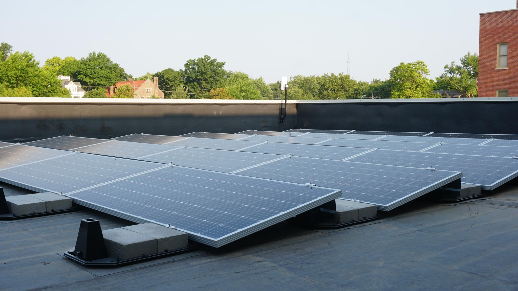 Duchesne Academy solar panels on the school's roof at 3601 Burt St. in Omaha.