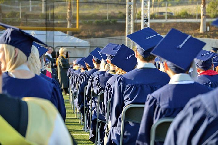 Rows of students at graduation