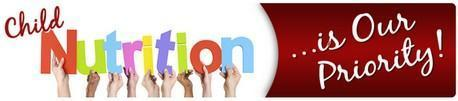 Child nutrition is our priority children's' hands holding letters