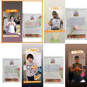 1 girl and 3 boys holding their Lorax with their assignments collage