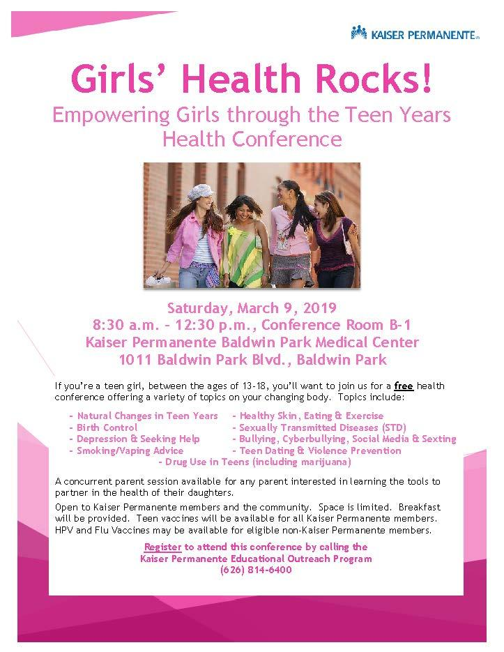 Girls' Health Rocks! Empowering Girls through the Teen Years Health Conference