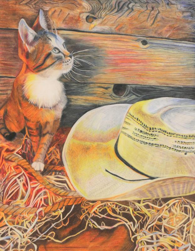 """Country Cat in the Cowboy Tack"" by Kayden Mace, Grade 10, Magnolia West High School, Teacher Marta Huntsman"