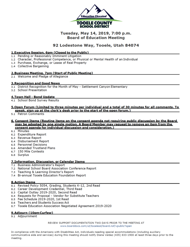 BOE agenda for May 14th