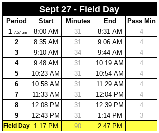 Field Day Special Schedule & Details Featured Photo
