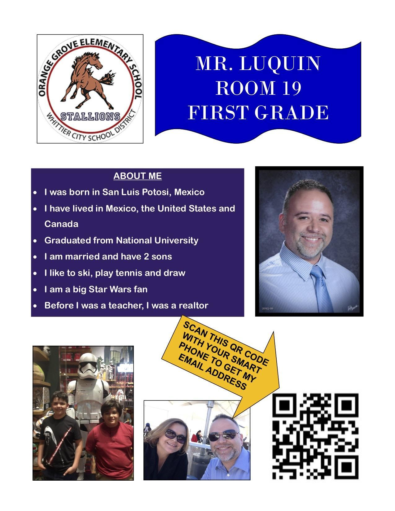 staff flyer for Mr. Luquin