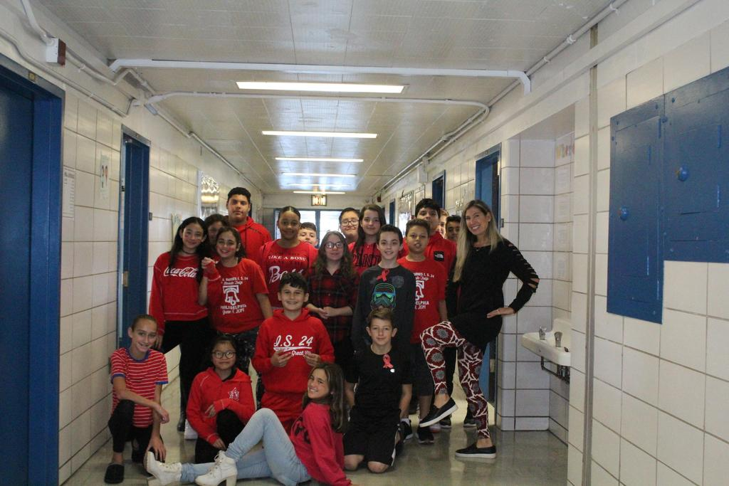 Mrs. DeSetto's class wears red