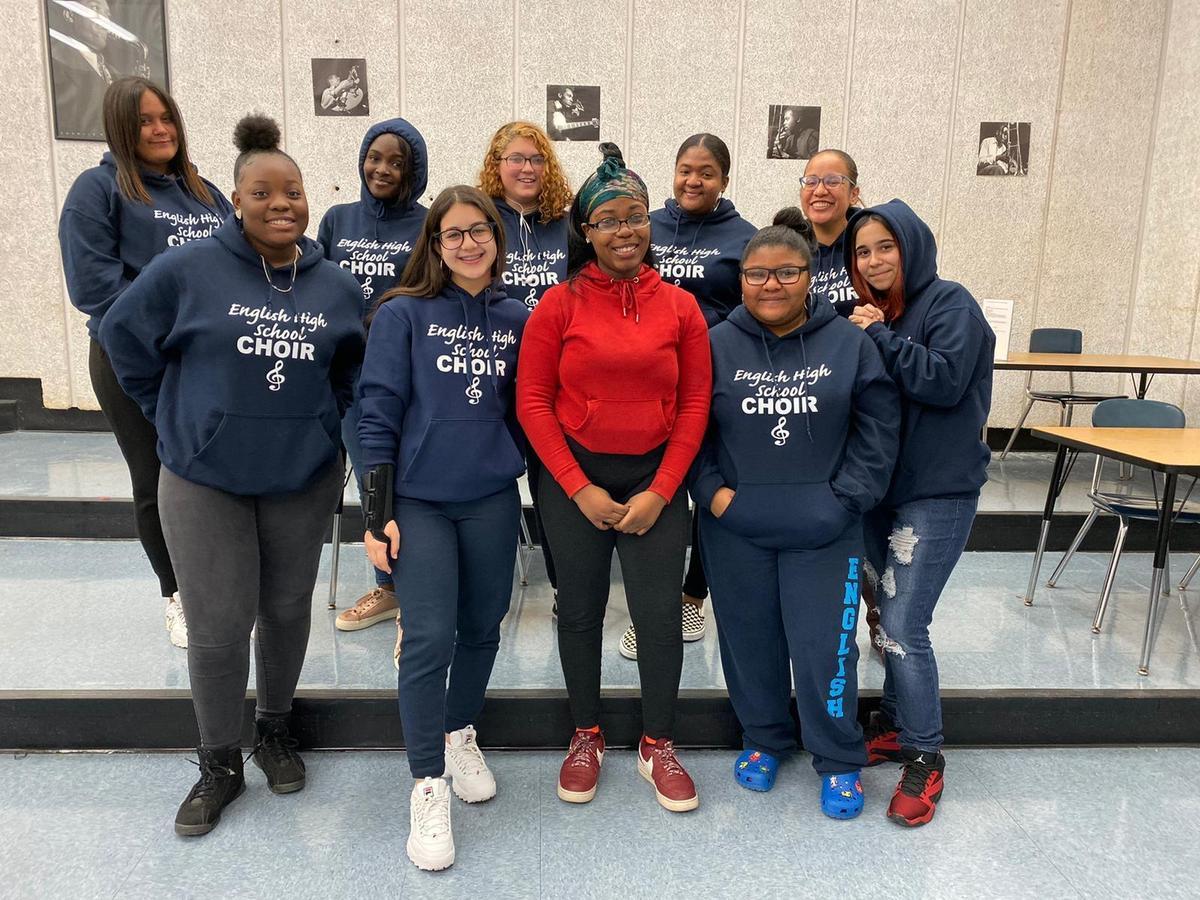 Ms. Hernandez and choir