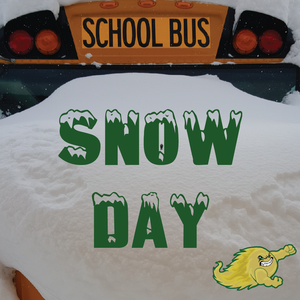Snow Day! Bus covered in snow.