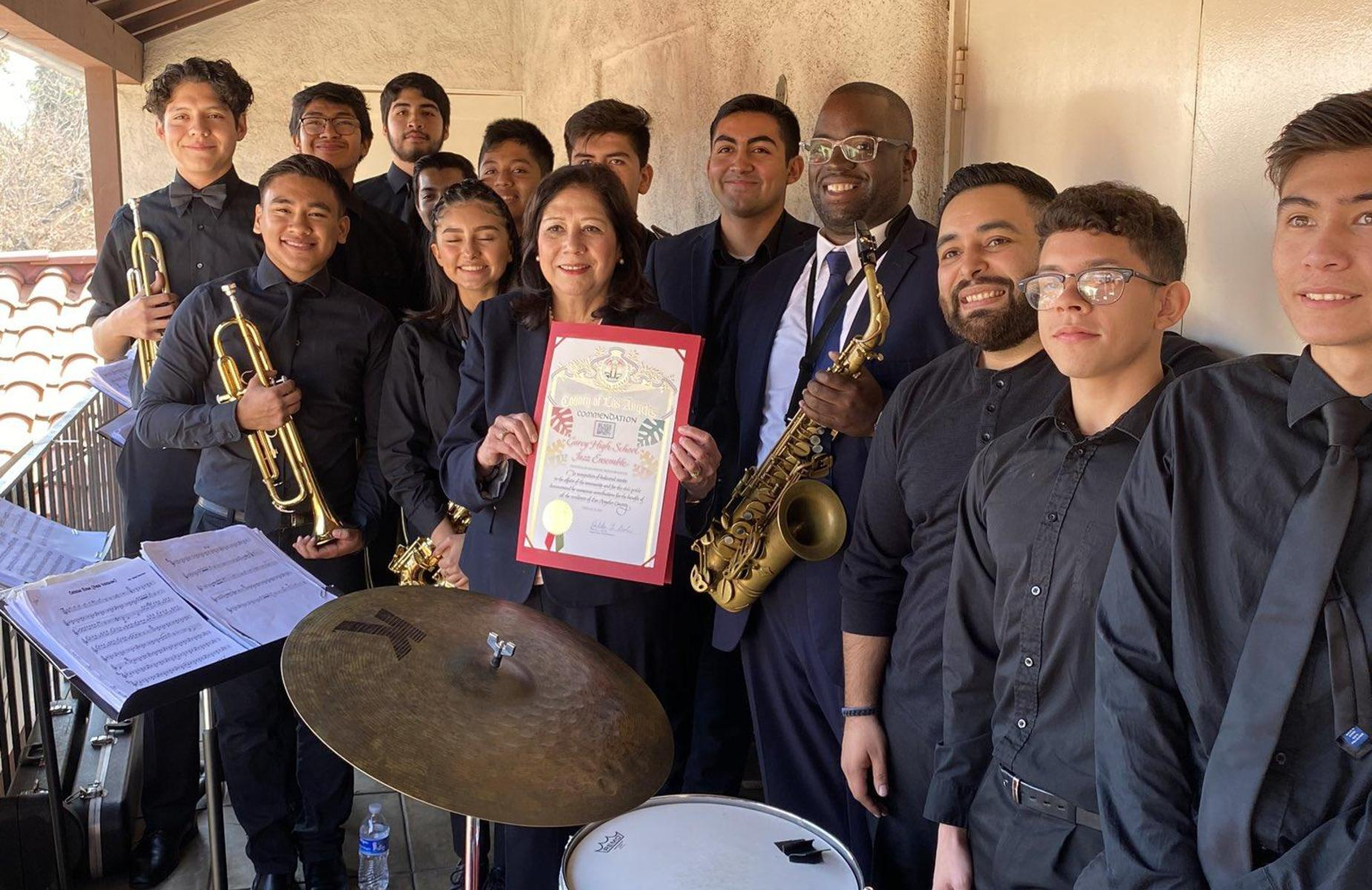 We are #PROUD of our @GareyHighPUSD jazz band who performed for @HildaSolis  this morning! #proud2bepusd