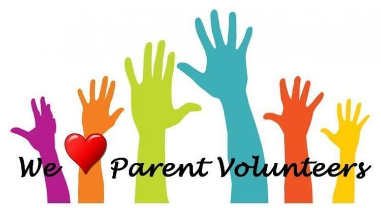 Colorful hands raised with We love parent volunteers caption