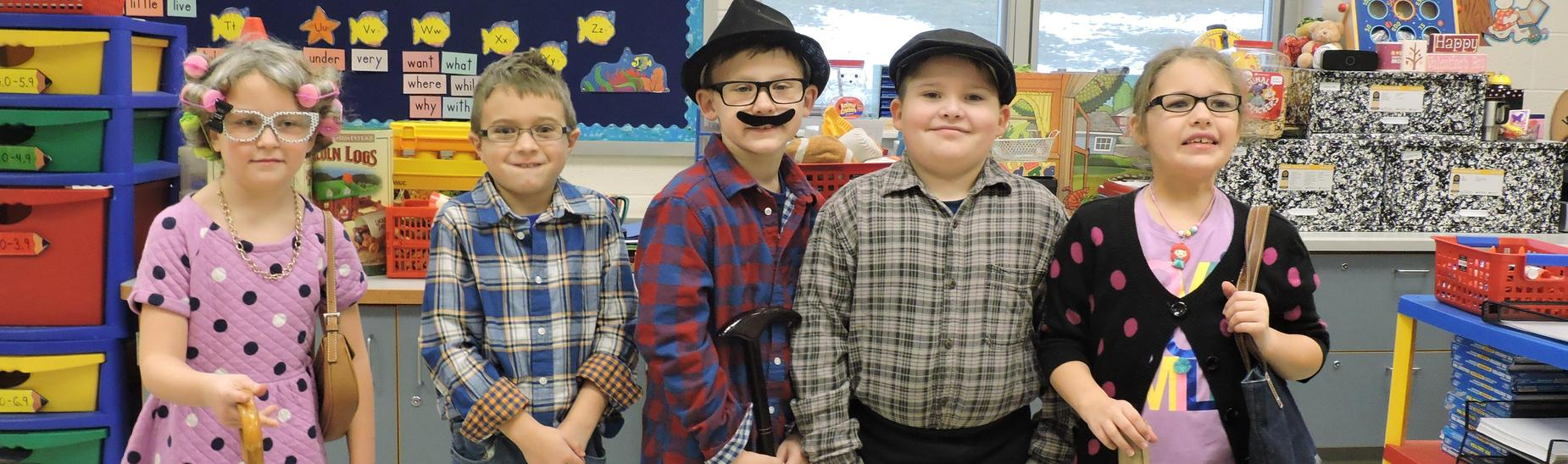 Students in Mrs. Angelo-Kuzar's classroom celebrated the 100th Day of School by dressing up like they were 100 years old.