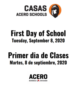 First day of school 9/8/20 flyer