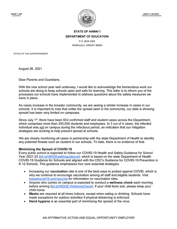 superintendent letter regarding school safety