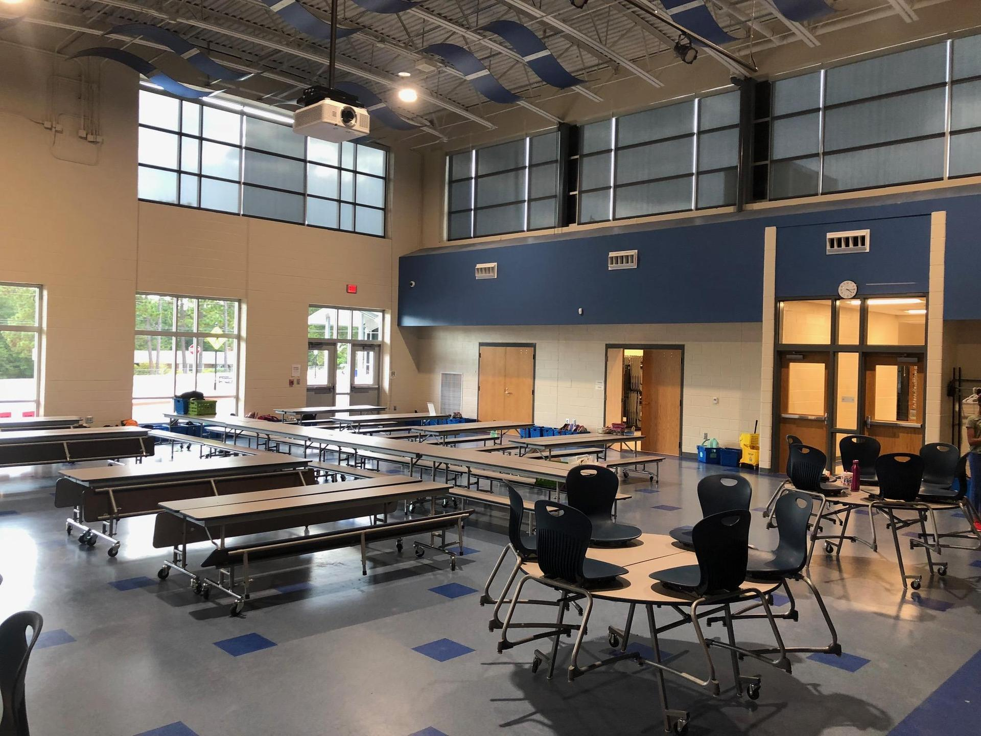 New cafeteria with new tables and seating at Springdale Elementary