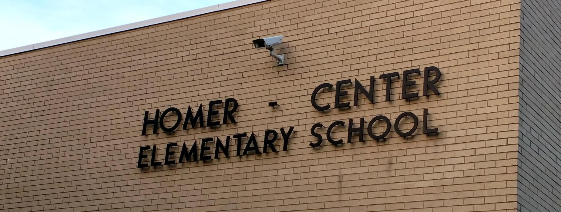 The lettering on the front of the Elementary Building
