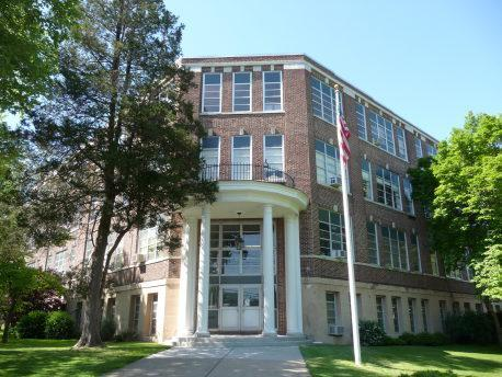 Exterior of administration building at Elm Street.