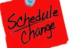 note that says schedule change