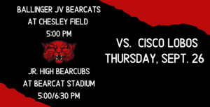 JV and JH Football vs. Cisco Loboes