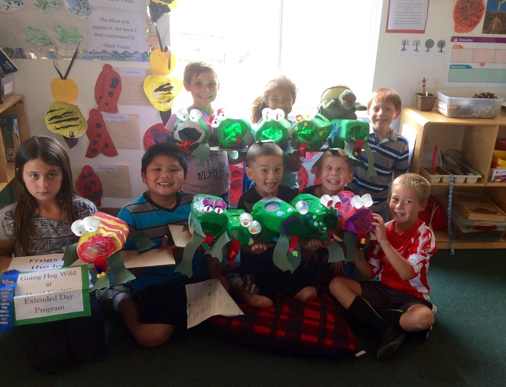 children and their frog crafts