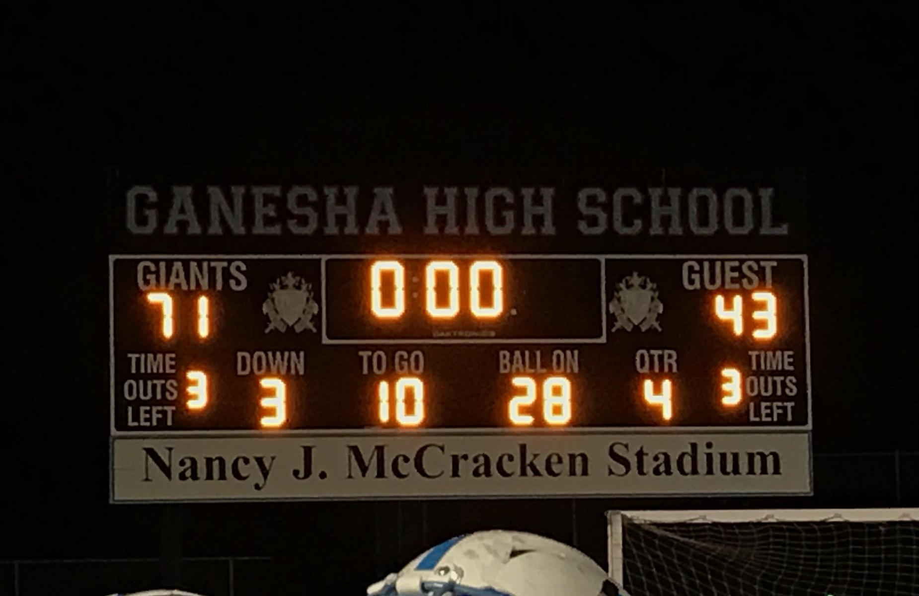 Congratulations Ganesha Football on your CIF playoff game victory!