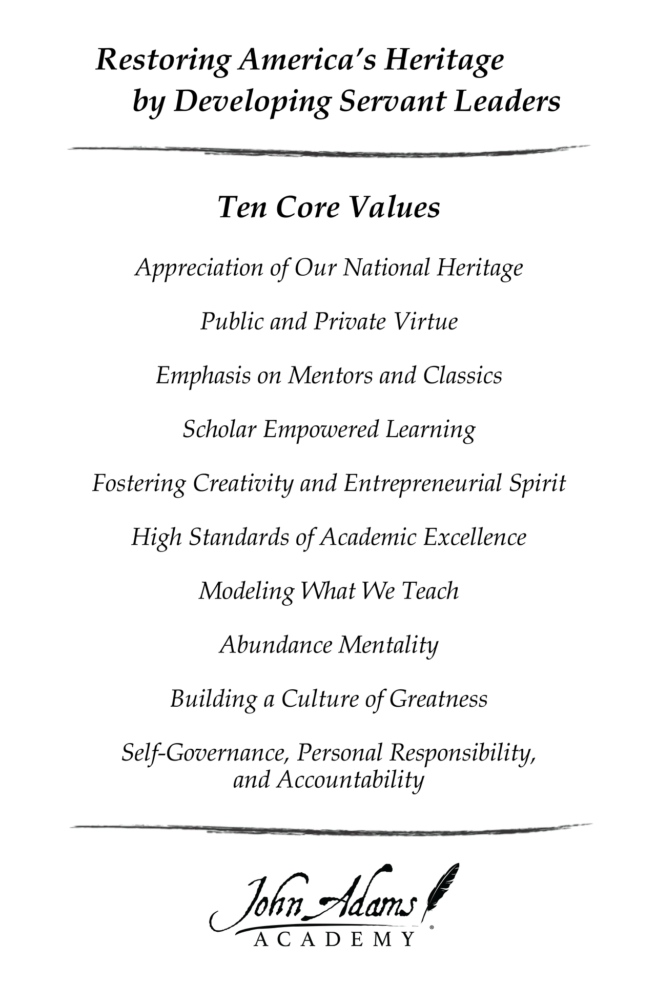 Ten Core Values