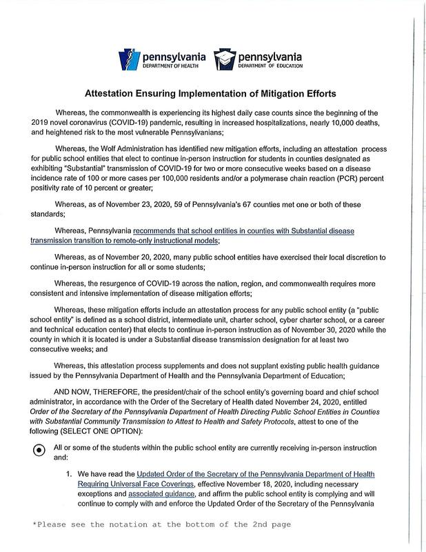 Pennsylvania Department of Education - Attestation Ensuring Implementation of Mitigation Efforts Featured Photo