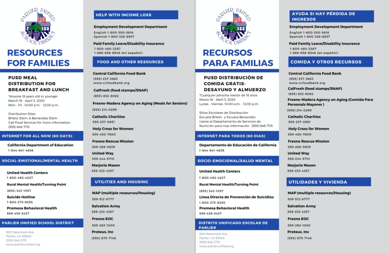 Parlier Unified Family Resources/Recursos de Familia (click to enlarge/pulse para engrandecer) Featured Photo