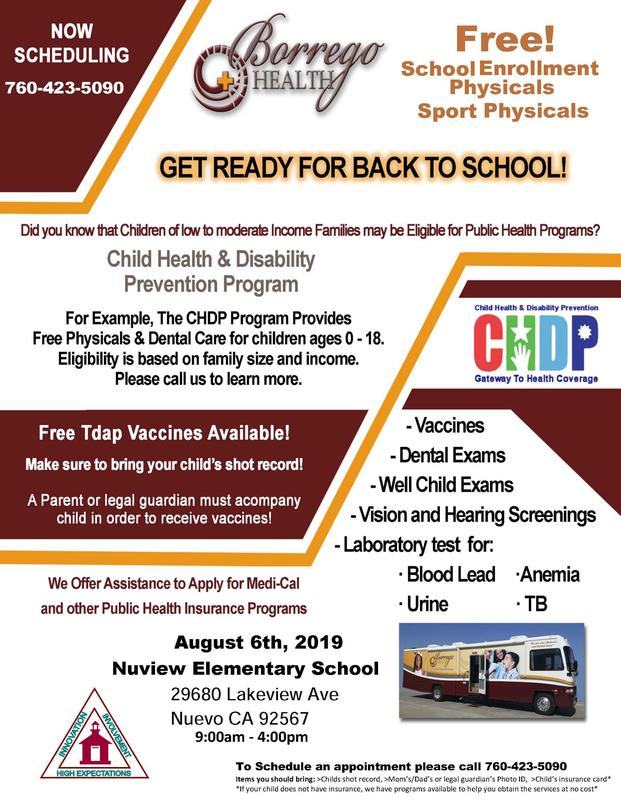 Borrego Health Free Clinic Aug. 6, 2019 Featured Photo