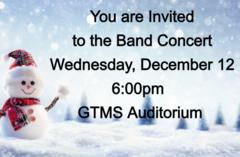 Band Concert Wednesday, December 12 at 6:00pm
