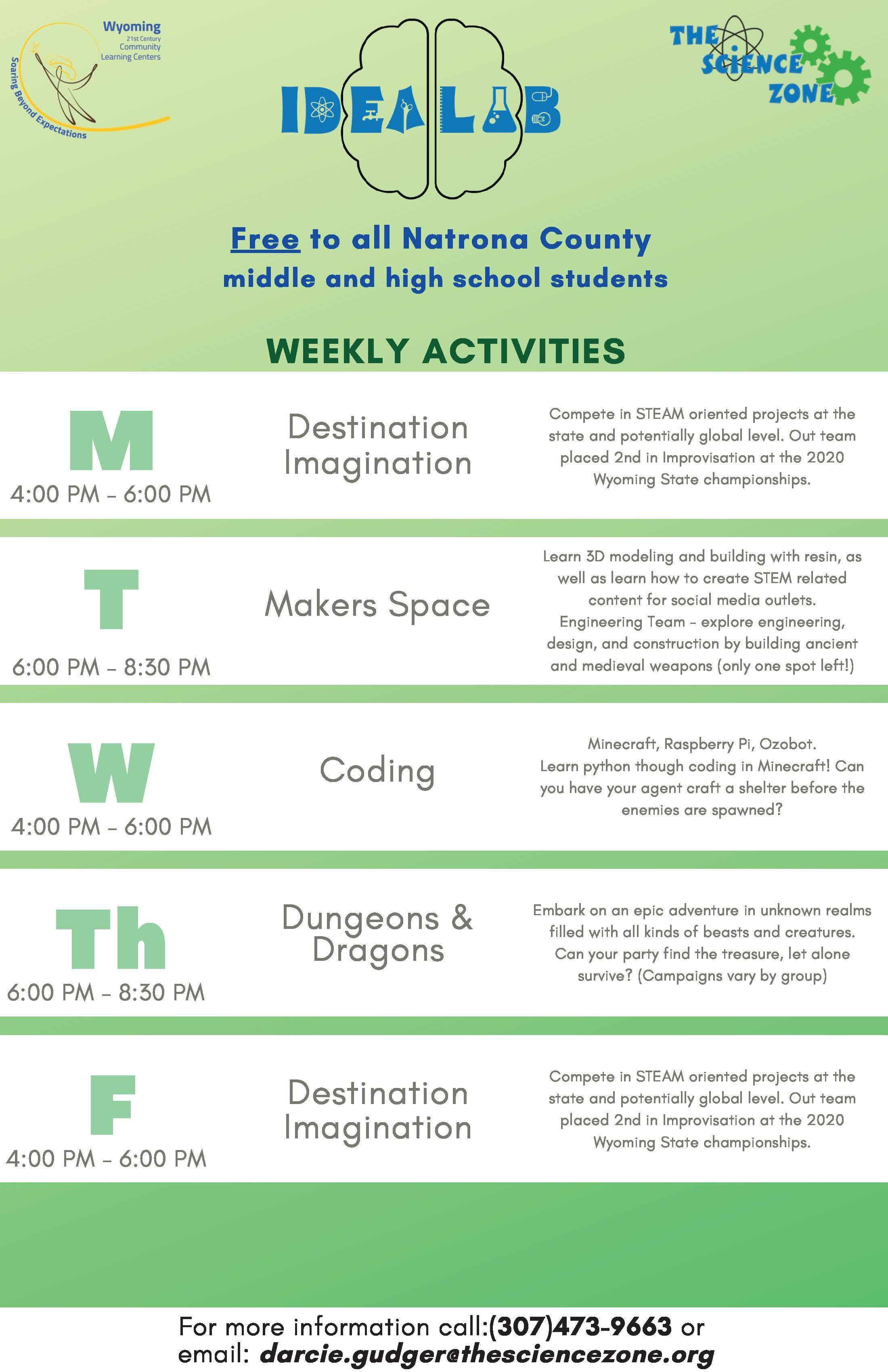 Idea Lab Weekly Activities Flyer