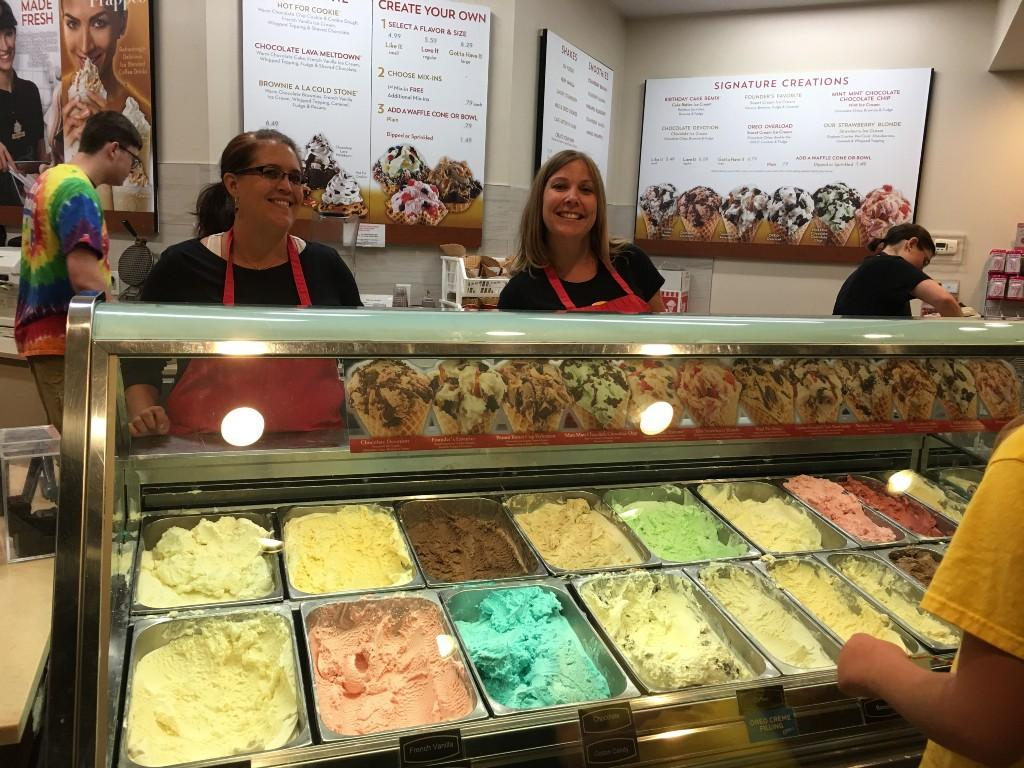 The Coldstone fundraiser event is a blast. Teachers scoop up yummy creations for students and families.