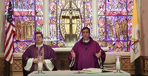 Fr. Larry and Fr. Matt celebrate 3/29/20 mass online