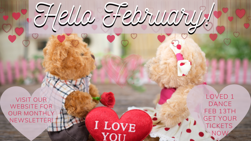 Cute banner for February newsletter, featuring two teddy bears