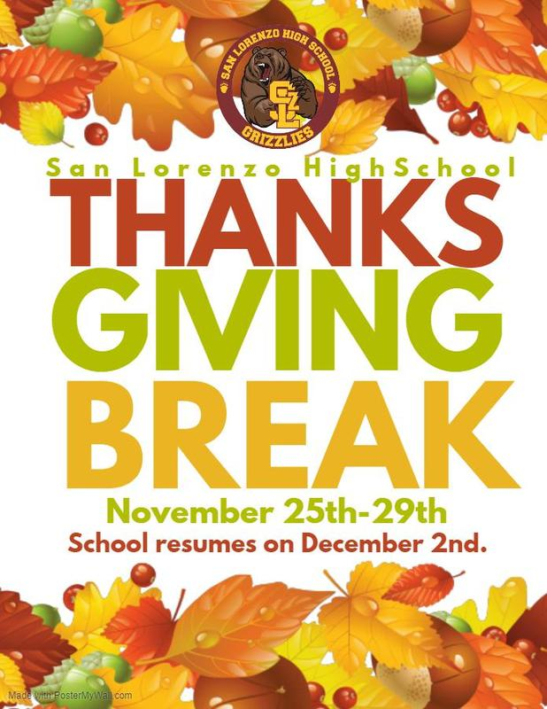 Thanksgiving Break, 11/25-11/29 Featured Photo