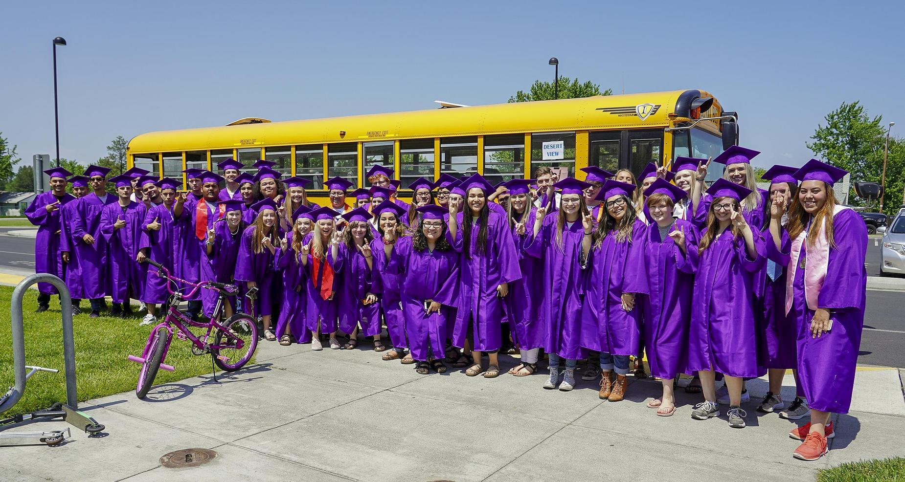 High school seniors visit their former elementary school.