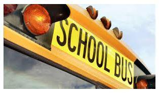 Front of School Bus picture, highlighting the word School Bus in black print