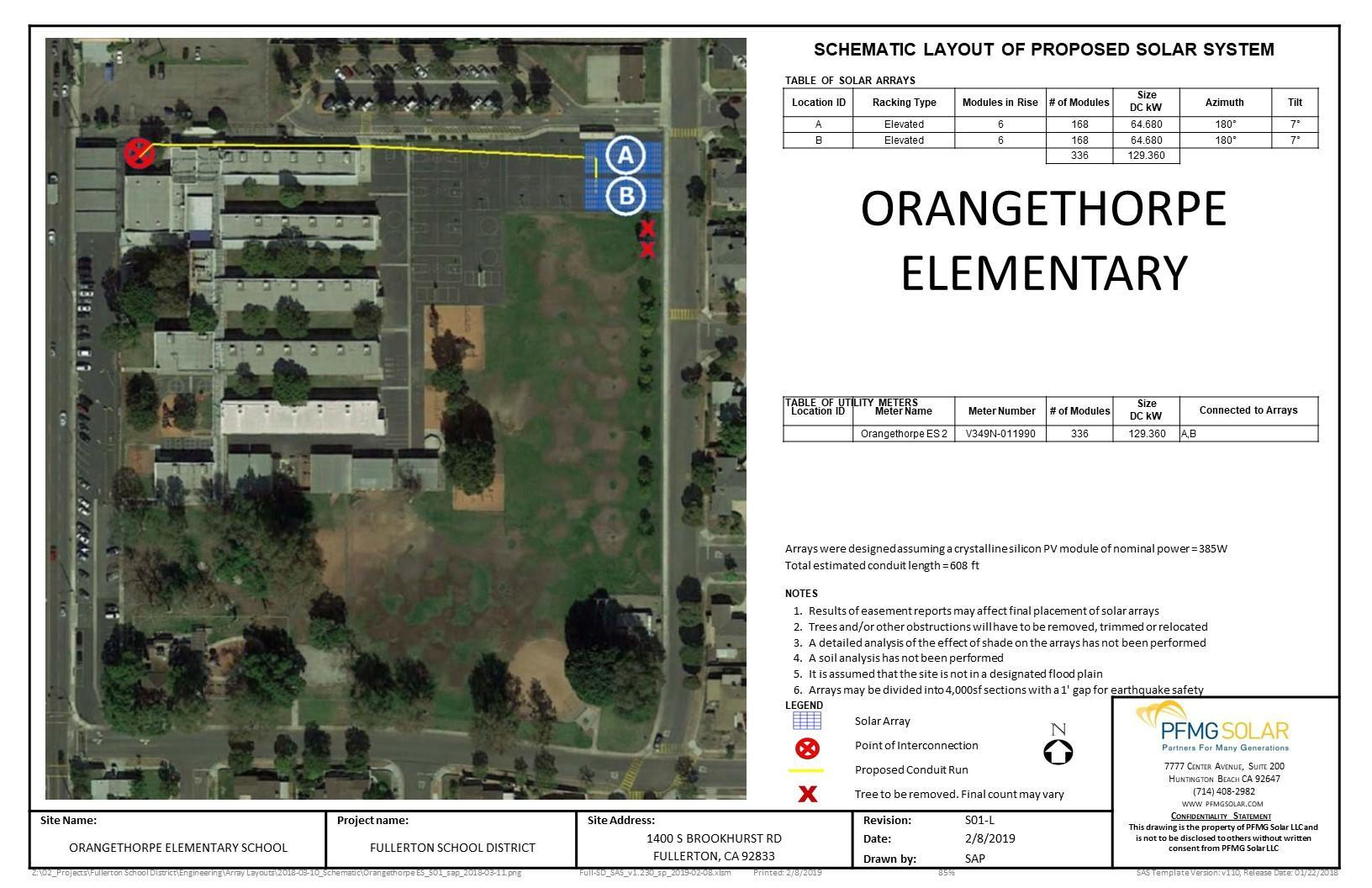Orangethorpe Elementary Schematic Layout of Proposed Solar System