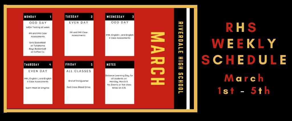 Weekly Schedule 3-1-2021