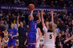 Emily Niebergall goes up for the basket